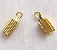 Gold Plated 8mm Cord Ends - 10 Pairs